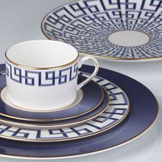 Beautiful reinterpretation of the classic Greek Key motif; dinnerware place setting by  Lenox; designed in collaboration with decorator Brian Gluckstein.