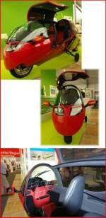 Mono Tracer MTE-150 electric. Das schnellste Elektrofahrzeug der Welt mit Straßenzulassung: 328km/h (250km/h abgeregelt). Im Sprint von 0 - 200 unter 16 Sekunden. Reichweite bei 100km/h über 500km. 28kWh Batterie; 20kW Ladegerät; 1,5 Stunden Ladezeit an 220V 63A. Zahlreiche Extras (Klima, Heizung u.s.w.). Preis ca.122´800 Franken. Foto: 25.05.2014, ILA 2014