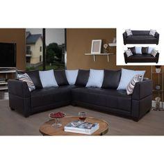 Beverly Fine Furniture Ezio Dark Brown Faux Leather Sectional Sofa - SH7202A