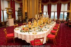 A new collection of images from the Royal Collection Trust reveal the festive traditions that the royal family Christmas entails. Pictured- the dining room at Windsor castle Royal Family Christmas, Christmas Home, Dressing Mirror, Dressing Table, Palace Interior, The Royal Collection, Royal Residence, Banquet Tables, Windsor Castle