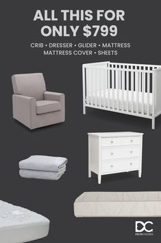Customize Your Dream Nursery for Only $799! All Sets Include a Crib, Dresser, Glider, Mattress, Crib Sheets, Mattress Pad (PLUS FREE SHIPPING!)   Straight From The #1 Brand in Baby Furniture for Over 50 Years. And 10% of All Profits Go Toward Improving the Lives of Children!
