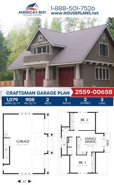 Get to know this Craftsman style garage, Plan 2559-00658 features 1,079 sq. ft. of garage space, 908 sq. ft. of living space, 2 bedrooms, and 1 bathroom. #garageplan #architecture #houseplans #housedesign #homedesign #homedesigns #architecturalplans #newconstruction #floorplans #dreamhome #dreamhouseplans #abhouseplans #besthouseplans #newhome #newhouse #homesweethome #buildingahome #buildahome #residentialplans #residentialhome