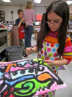 Elmwood's Art Studio: Students explored various kinds of lines and brushstrokes. Using only magenta, turquoise, yellow, black and white paint, they created the most beautiful colors.