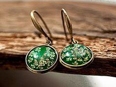 Real flower earrings GRASSGREEN