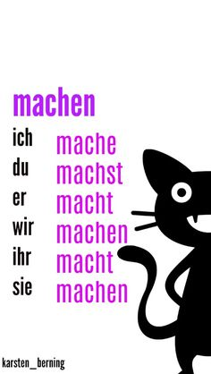 machen = to do german verb - Study German, German English, Learn English, German Grammar, German Words, German Resources, Deutsch Language, German Language Learning, Vocabulary