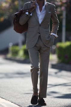 Tan suit and crisp white shirt for the summer.