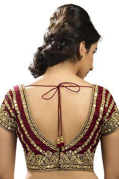 #Maroon & #gold raw #silk festive wear classy #blouse with sweet heart neck -BL580