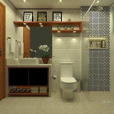 Azulejo para banheiro com formato geométrico Hip Hop, Small Bathroom, Bathrooms, Kids Bedroom, Toilet, Sweet Home, Mirror, Interior Design, House