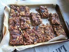 Chocolate Caramel Nut Bars w/ Dried Figs Vegan Desserts, Just Desserts, Nut Bar, Fig Recipes, Dried Figs, Love Chocolate, Stick Of Butter, Chocolate Recipes, Good Food