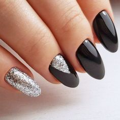 Cute Black and Silver Nails Designs #GlitterNails