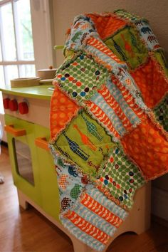 Rag Quilt CUSTOM for Baby  Reversible  Any Color by roryunraveled, $89.95