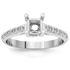 This lovely womens diamond engagement ring setting is crafted in 14K White Gold. The frame is adorned with small round cut diamonds which total to 0.39 carats. The prong measures to 1/4 Inches in width and the frame weighs approximately 3.3 grams. This small diamond engagement ring setting is an ideal base for the diamond of your choice. $694 diamond engag, frame, diamond semi, small diamond, women diamond