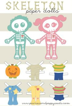 skeleton paper dolls (free printable)