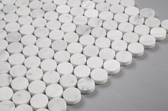 Carrara White Marble Mosaic Tile in Penny Rounds Pattern - Honed Honed Marble, Marble Mosaic, Carrara, Mosaic Tiles, Marble Floor, Stone Mosaic, Mosaics, Penny Round Tiles, Penny Tile