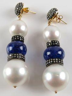 Pair of Pearl, 1.65 Carat Diamond and 14 karat Gold Drop Earrings.  : Lot 129