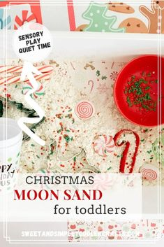 create a special Christmas themed moon sand sensory bin at home with your toddler and kids, exicting quiet time busy activity for preschooler #christmassensorybin #sensorybin #todderideas #christmasideaskids #toddlerfun #craftstoddlers #activitiesfortoddlers