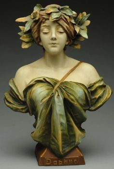 AMPHORA POTTERY Daphne Art Nouveau bust by Ernst Wahliss, marked with Wahliss' crown. impressed 4278/32. 14 in. high