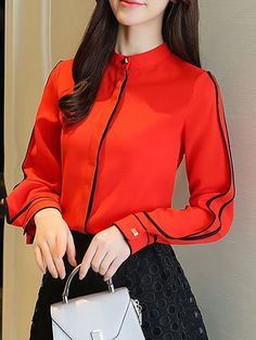 Tops for Women - Shop Long or Short Blouses & Shirts Cute Blouses, Blouses For Women, Red And Black Top, Pink Black, Stylewe Dresses, Korean Dress, Blouse Outfit, White Long Sleeve, Classy Outfits
