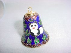 Cloisonne Bell Ornament with Panda Bear Hearts and Leaves on Cobalt Blue