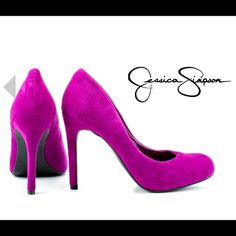 NWOT• MINT CONDITION• Jessica Simpson• Jazzberry Color: Fuchsia (will post pic tomorrow of actual shoe)   Leather Upper. With almond shaped toe, man made sole, the Jessica Simpson platforms will add a sophisticated touch to any ensemble.   Earn your fashion credentials in this stunner from Jessica Simpson. You'll cause a stir for sure when you step out in the fashion-forward Jessica Simpson Waleo Jazzberry Suede Women Jessica Simpson Shoes Heels