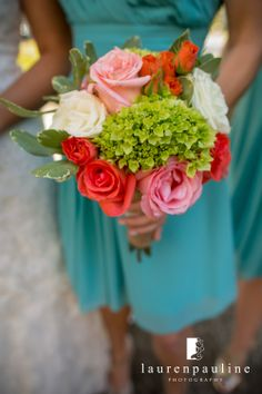 Coral, white and green bouquet of baby hydrangea, roses, spray roses, and variegated pittosporum | by Andrea Layne Floral Design