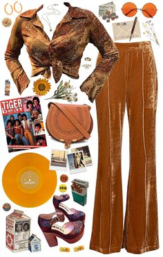 This outfit is inspired by the good vibes of the American Discover outfit ideas for Inspired Spring Trend made with the shoplook outfit maker. 70s Outfits, 70s Inspired Outfits, Vintage Outfits, 70s Inspired Fashion, Hippie Outfits, Mode Outfits, Fashion Outfits, Grunge Outfits, 1970s Hippie Fashion