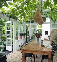 amazing greenhouse in Aalborg, Denmark Backyard Greenhouse, Backyard Patio, Greenhouse Ideas, Pergola Patio, Outdoor Rooms, Outdoor Living, Indoor Outdoor, Outdoor Areas, Indoor Plants