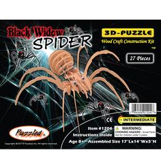 Puzzled Wood Widow Spider 3D Puzzles