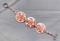 Asian Pattern Chestnut on White Porcelain Disc Bracelet