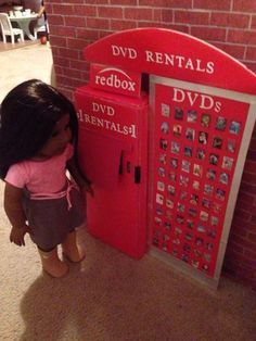 DVD rental box for American Girl Dolls - my dream craft to make for my dolls :)