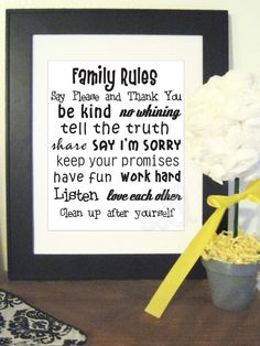 SALE 4.00 Printable Family Rules 8x10 by DeLamour on Etsy, $4.00
