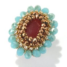 #buyONCE #buyWELL how about buying this: RUSH Bronze, Aqua & Red Beaded Oval Cocktail Ring
