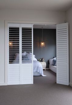 Plantation Shutters are the hottest product in window coverings today! Available in sliding, bi-folding / hinged. The options are endless.for ensuite Home, Shutter Doors, Interior Barn Doors, French Doors Interior, Interior, Room Divider Doors, Interior Sliding French Doors, House Interior, Sliding Room Dividers