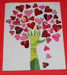 Tree of Hearts collage made of old magazines. Trace hand and arm for the stem.