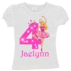 Ballerina Barbie Birthday Shirt-Girls Ballerina Barbie tutu outfit, ballerina barbie tutus, ballerina party outfits, ballerina barbie party, girls ballerina tutus, ballerina birthday, ballerina barbie shirt, barbie birthday shirt, ballerina barbie