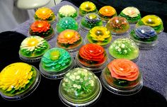 ....ANYWAY these are completely edible (the flowers are made from colored milk jello) and can be made in any flavor, any color, and basically any flower ever.