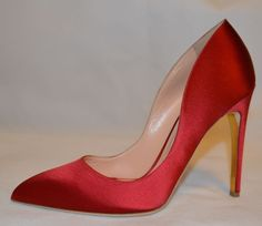 346718431cd5 Rupert Sanderson Red Elba Love Satin High Heel Pumps UK6.5 EU39.5