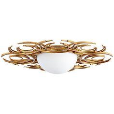 "Vivian 29 3/4"" Wide Gold Leaf Glass Iron Ceiling Light"