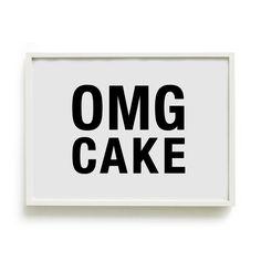 A4 Typography Poster, baking print, kitchen decor - OMG CAKE. via Etsy.