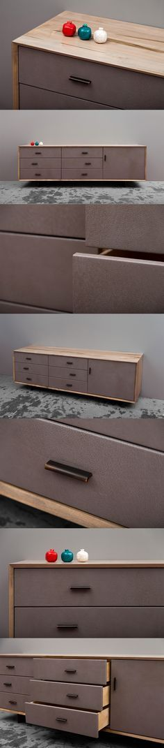 Murlough Dresser is an elegant and timeless dresser using locally sourced American maple hardwood. Each Murlough dresser is handmade. The unique grain and other characteristics of the wood created during growth in the forests of the American north east woodlands are locked into the clean contemporary beveled design. A sense of timelessness is achieved through the application of SENTIENT's unique driftwood finish combined with drawer faces wrapped in a high quality subtle leather.