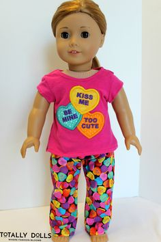 """American Girl Doll Clothes - Valentine's Day - """"Candy Hearts"""" PJ set by Totally Dolls"""
