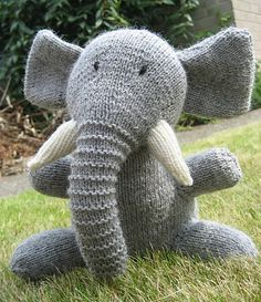 Free Pattern Ravelry: Elephant pattern by Sarah Keen. I'm amazed this is free! Knitted.