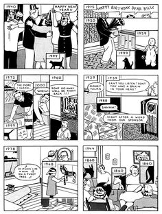 """Webcomic Wednesday - """"Here"""" by Richard McGuire    Unless you're behind the wheel of a DeLorean, """"time travel"""" generally involves minimal traveling, at least in a spatial sense. And unless you're animating the panels, in which case you're maybe doing something else entirely, comics about time travel generally involve minimal traveling in a temporal sense. The images are the images are the images, and your eye lingers on them as long as it will, the borders of any given panel walling off the…"""