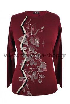 Μπλούζα πλεκτή μπορντό Knitwear, Jumpers, Long Sleeve, Sleeves, Sweaters, Blouses, Shopping, Tops, Women