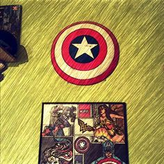 Cuadro y escudo capitan america and wonder woman