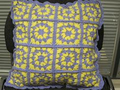 Crochet cushion cover made by my mum.