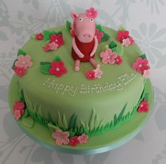 Peppa Pig with Flowers Birthday Cake - Cakes by Natalie Porter - Hertfordshire and Essex Special Birthday Cakes, Novelty Birthday Cakes, Happy 2nd Birthday, Birthday Ideas, Birthday Parties, Peppa Pig Birthday Cake, Birthday Cake With Flowers, Character Cakes, Take The Cake