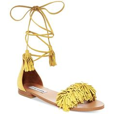 Steve Madden Women's Sweetyy Lace-Up Flat Sandals ($89) ❤ liked on Polyvore featuring shoes, sandals, yellow, ankle wrap sandals, yellow flat sandals, laced sandals, ankle strap sandals and yellow shoes