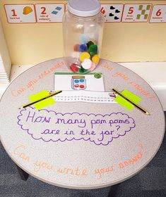 Encourage estimation and number writing with this brilliant maths estimation station, perfect for early years Maths Eyfs, Numeracy Activities, Eyfs Classroom, Literacy And Numeracy, Nursery Activities, Preschool Math, In Kindergarten, Classroom Activities, Early Years Maths