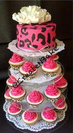 Pink Leopard print cake & cupcakes